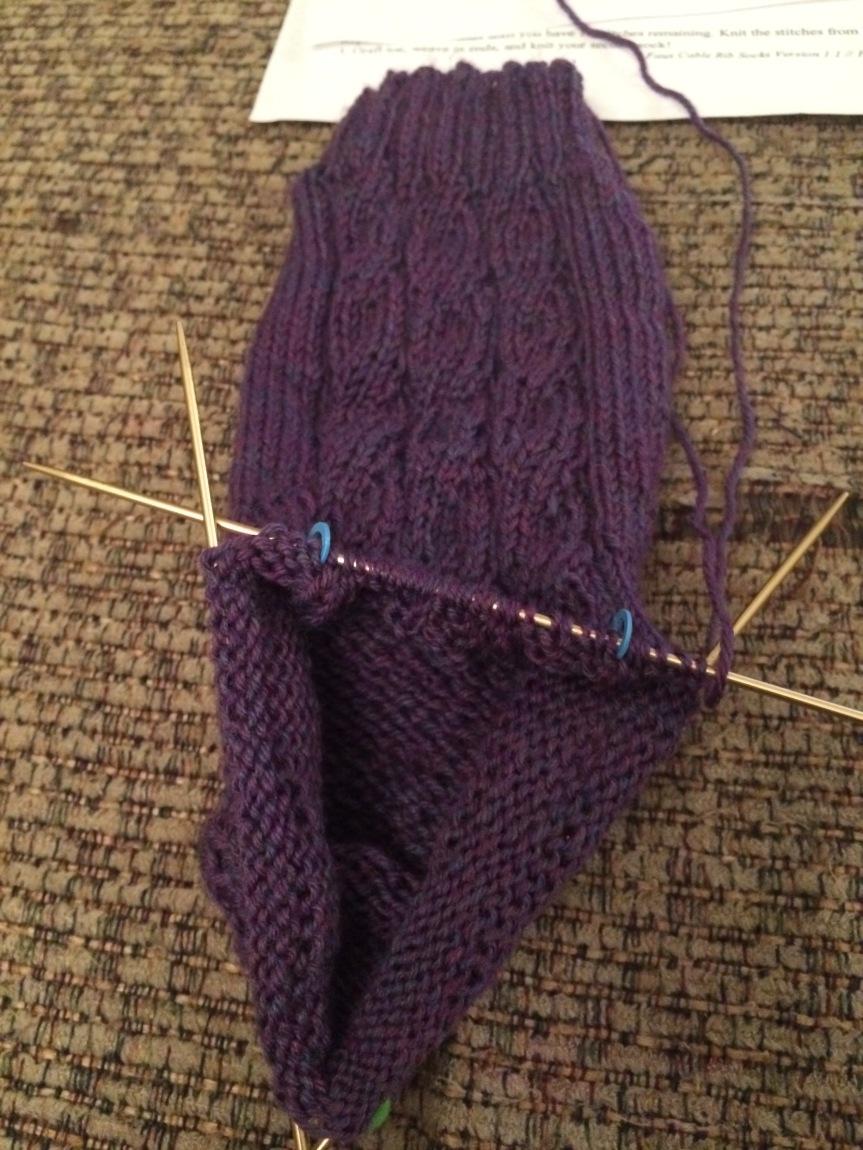 Purple Socks, Pt. 2:  Knitting TheGusset