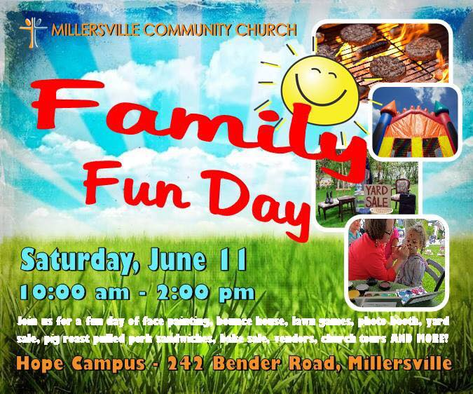 Millersville Community Church Family Fun Day Poster