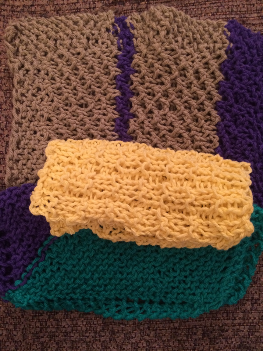 Three different washcloths that I knit.