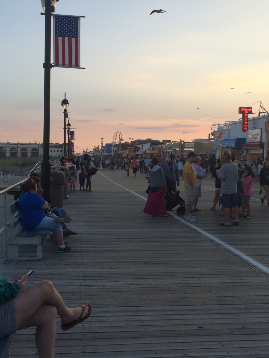 The boardwalk at Ocean City, New Jersey, USA in the evening.