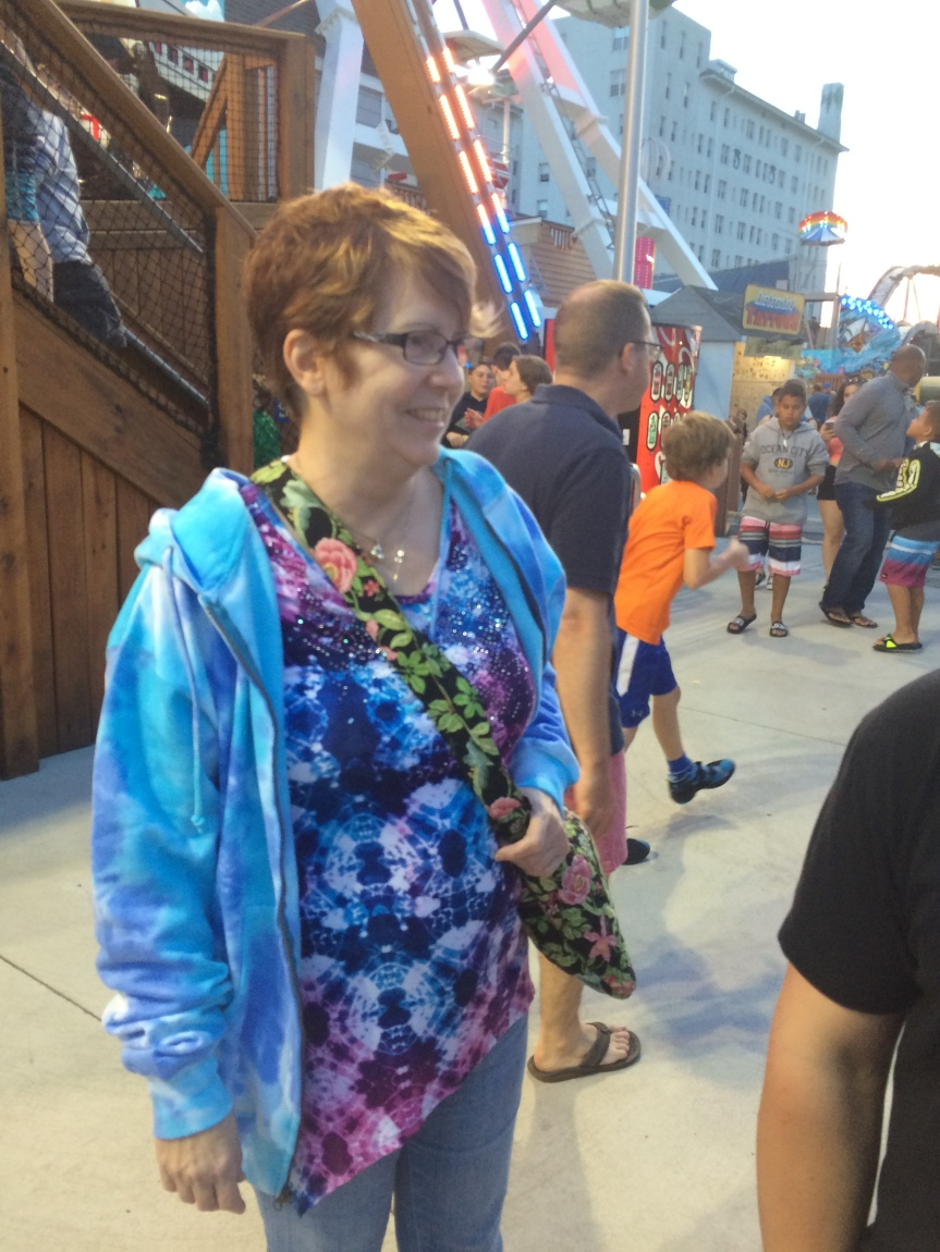 My mom after the pirate ship ride at Ocean City, New Jersey, USA.