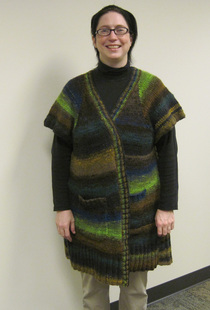 Me in 2011, modeling my first sweater that I knit.