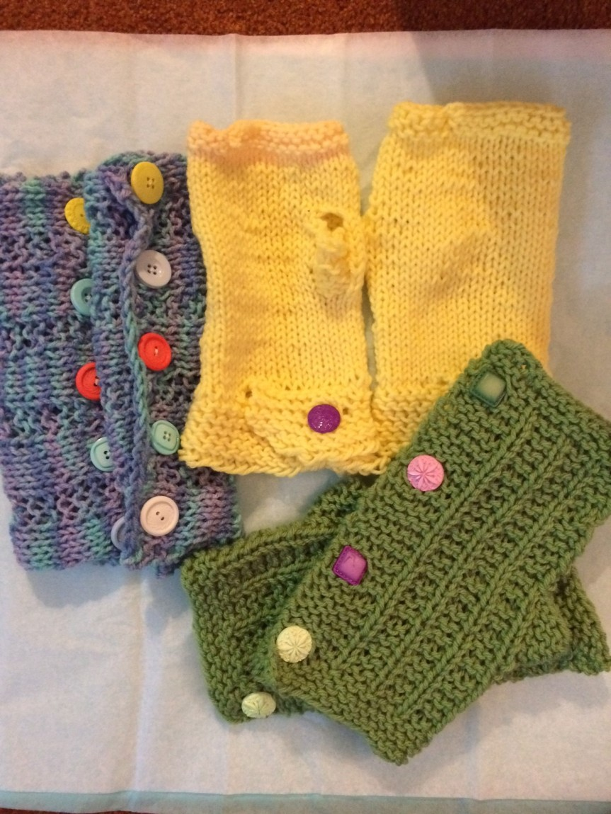 Handknit mitts for a craft show