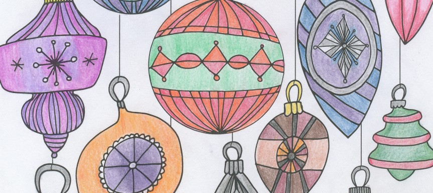 Christmas ornaments colored