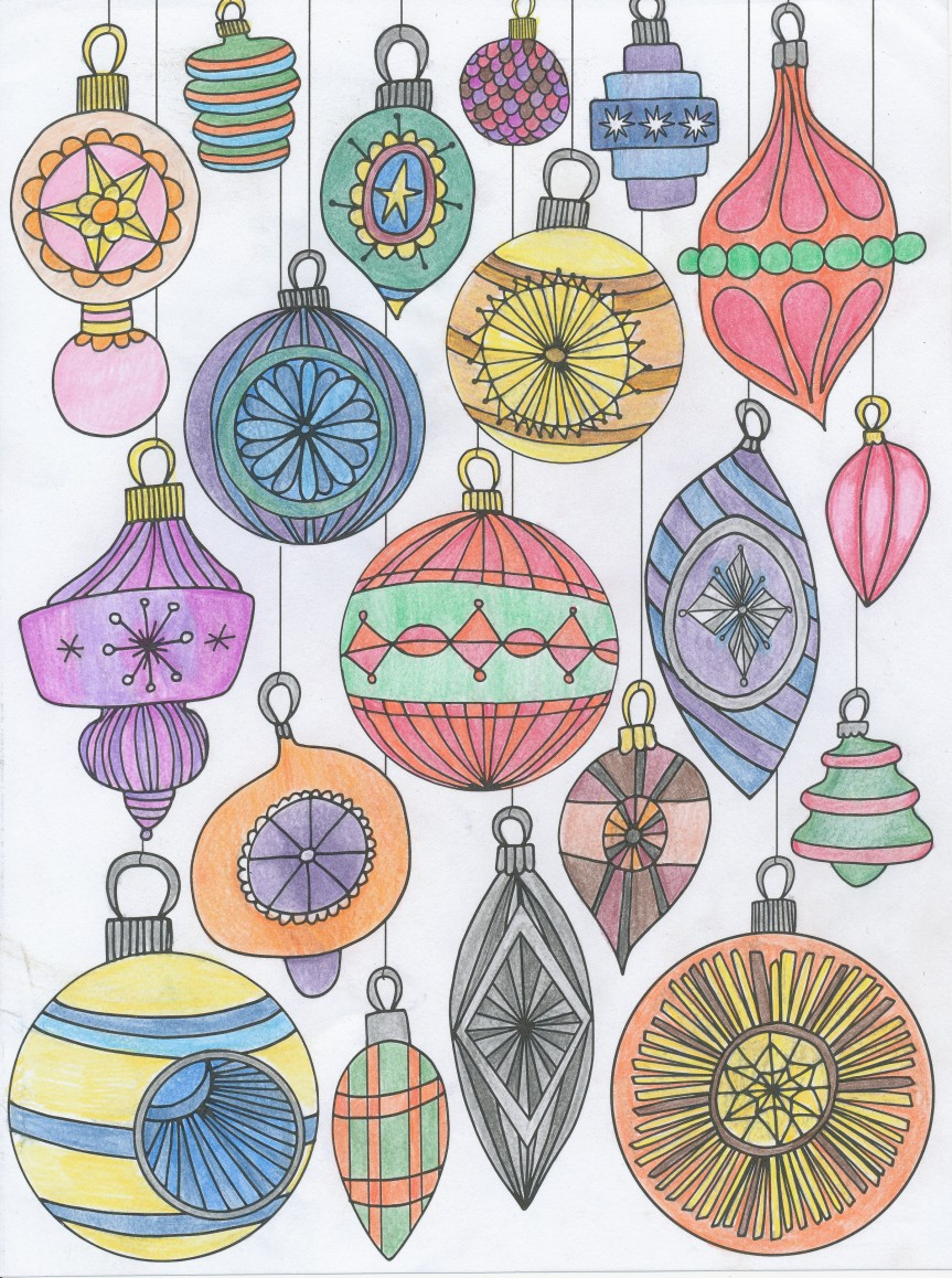 Colored Christmas Ornaments from TOH Color! book drawn by Mara Penny.