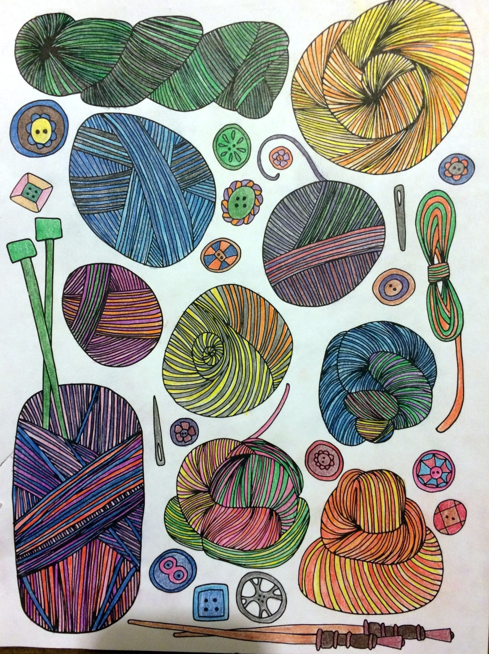 Yarn page from Taste of Home Winter 2017 adult coloring book