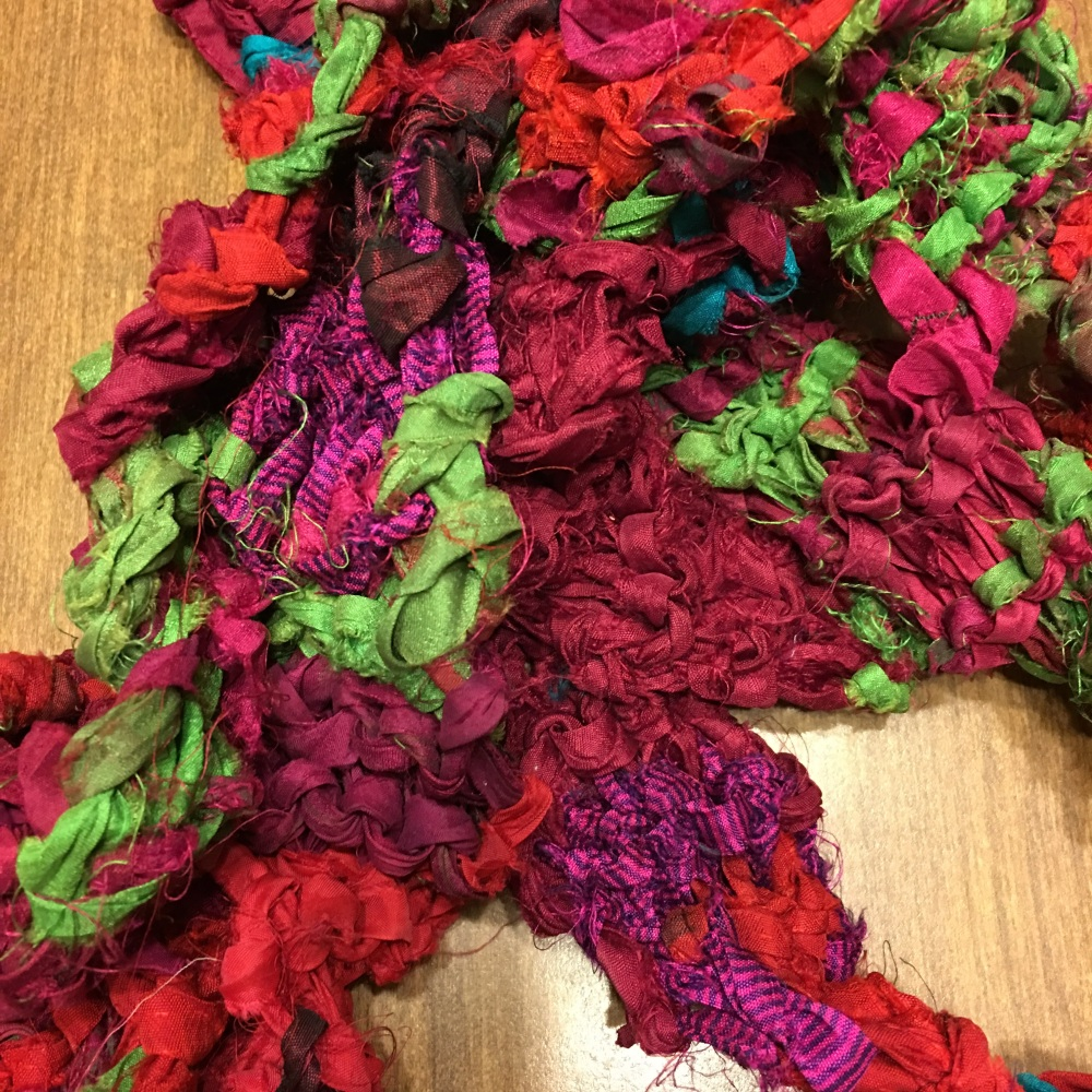 Scarf knit from At the Bahamas sari yarn from Darn Good Yarn