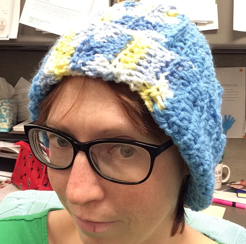 Me in my newly crocheted hat.