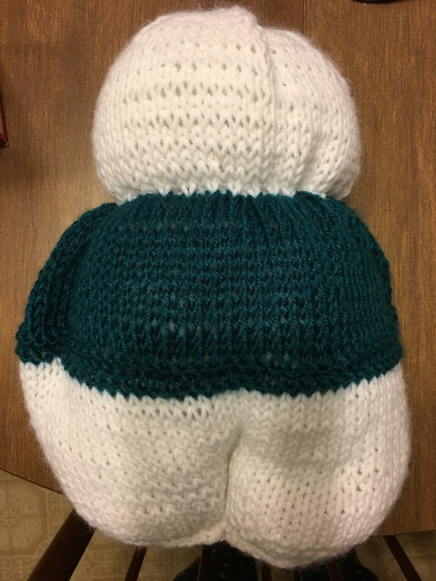 WIP progress of a knit stuffed rabbit